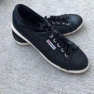 Black vegan leather Superga sneakers